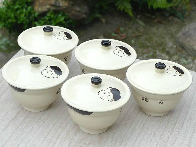 京焼  清水焼 お福汲出碗揃え 蓋付 与し三