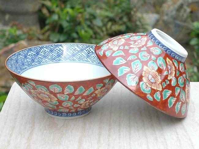 京焼  清水焼 赤濃牡丹唐草夫婦茶碗