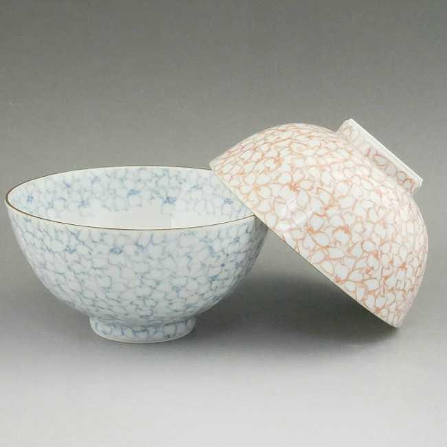 京焼  清水焼 染赤桜詰夫婦茶碗 紫峰