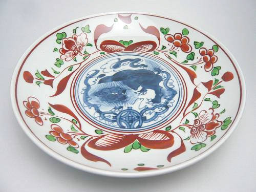 京焼  清水焼 赤絵玉取獅子皿 8寸  松泉