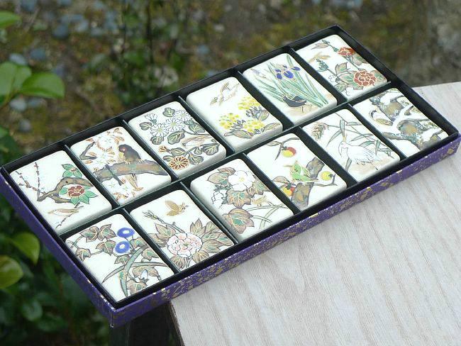 京焼  清水焼 琳派花鳥十二月箸置きセット 安徳