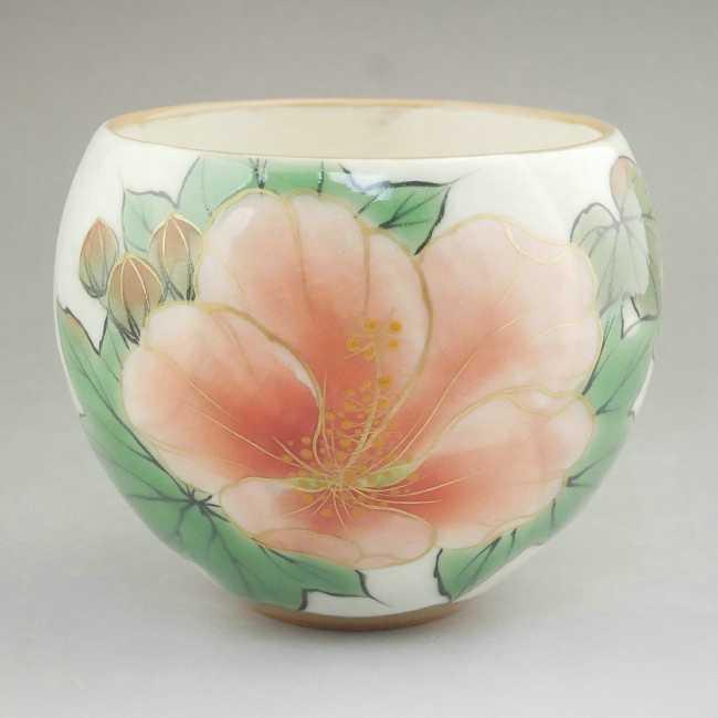 Shimizu ware rose-Mallow tea drinking bowl porcelain jam