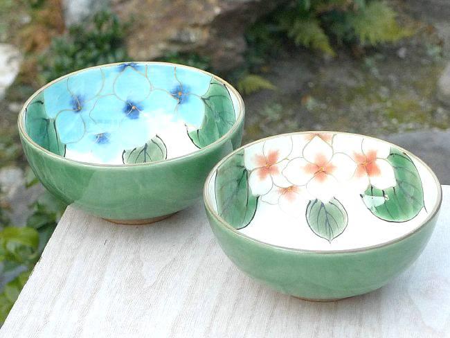 京焼  清水焼 織部紫陽花夫婦茶碗 陶あん
