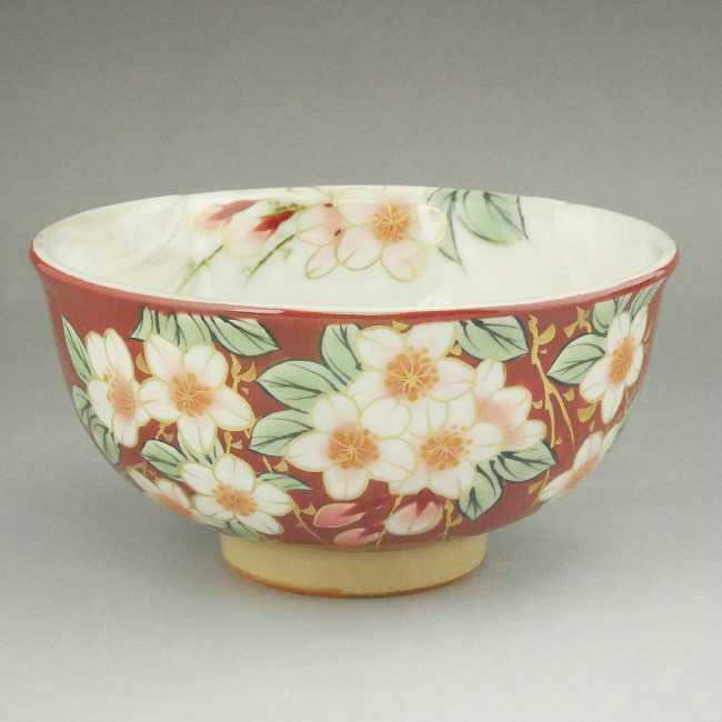 京焼  清水焼 枝垂れ桜ご飯茶碗 陶あん 小