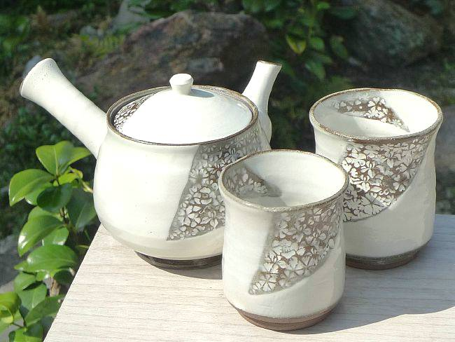 京焼  清水焼 四季印花茶の間セット 清泉