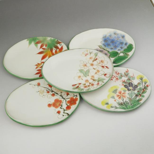 京焼  清水焼 白掛五草花楕円皿揃え 陶あん