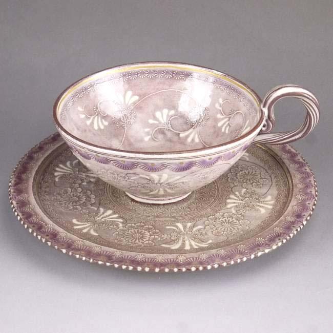 京焼  清水焼 紫彩花紋紅茶茶碗 陶楽