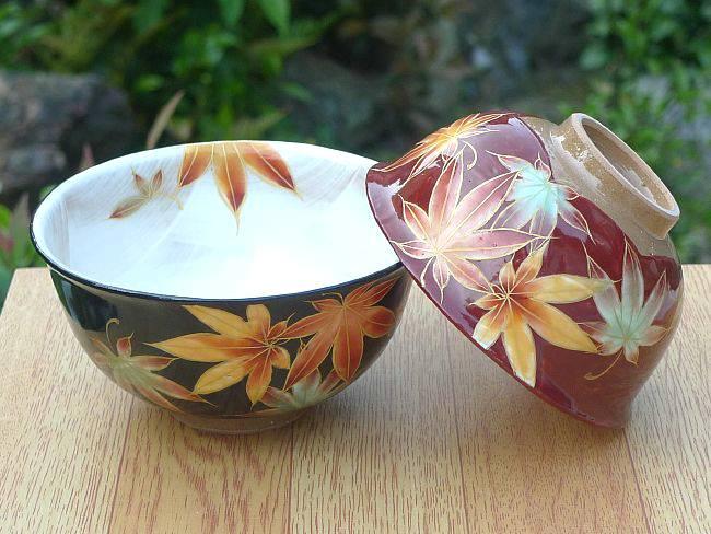 京焼  清水焼 彩り紅葉夫婦茶碗 陶あん