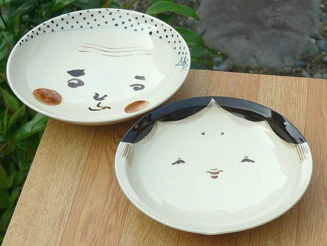 京焼  清水焼 お福とひょっとこペア皿 6寸