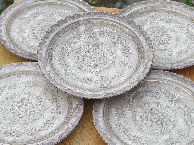 京焼  清水焼 紫彩花紋銘々皿揃え
