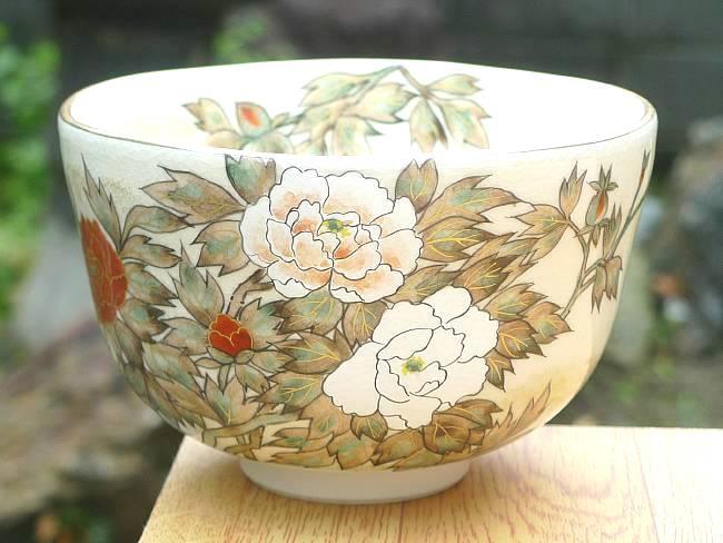 京焼  清水焼 色絵琳派抹茶茶碗 牡丹 善昇