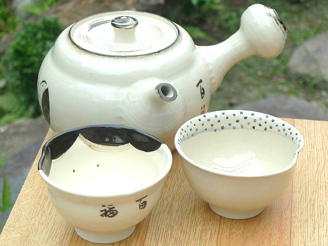 京焼  清水焼 お福急須大横型 茶の間セット