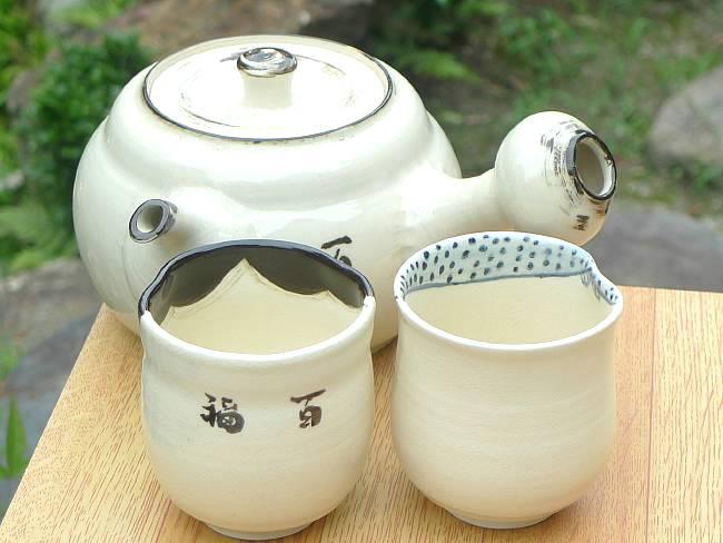 京焼  清水焼 お福急須大縦型 茶の間セット