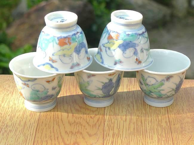 京焼  清水焼 淡彩唐子煎茶碗揃え 小