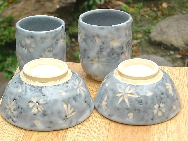 京焼  清水焼 志野春秋夫婦湯飲みと夫婦茶碗セット 喜信窯