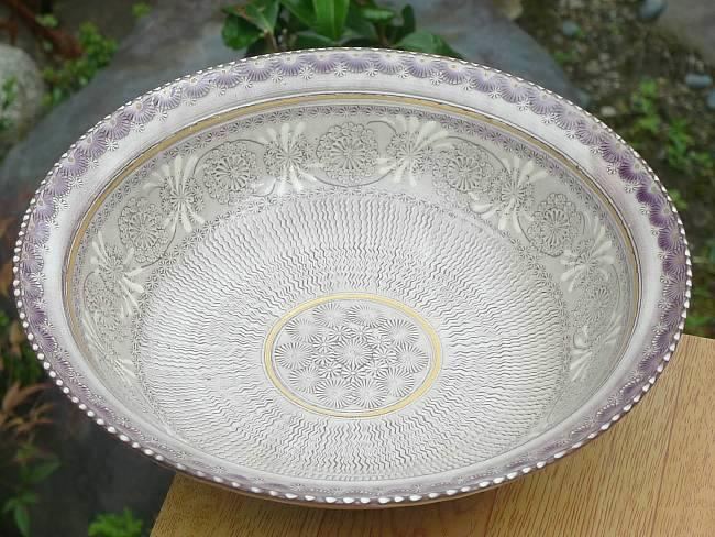 京焼  清水焼 紫彩花紋七寸鉢