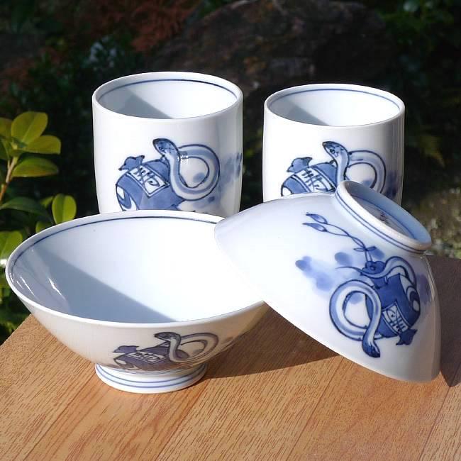 京焼  清水焼 干支巳夫婦湯呑と夫婦茶碗セット 芳山