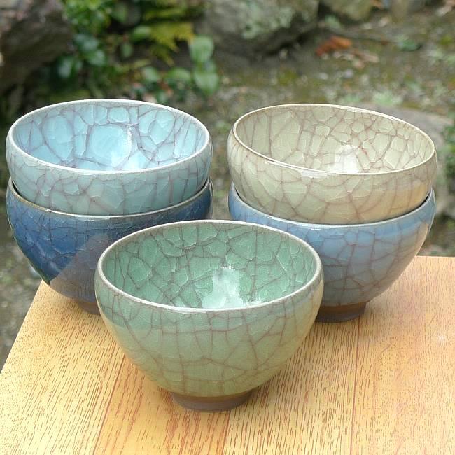 京焼  清水焼 (五色色変)青瓷貫入お茶呑茶碗揃え 利宗