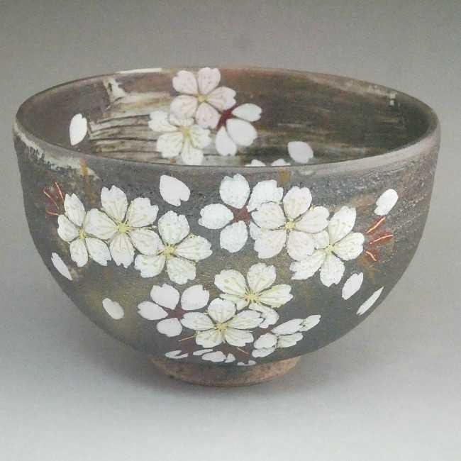 京焼  清水焼 花かがり抹茶茶碗 八幡