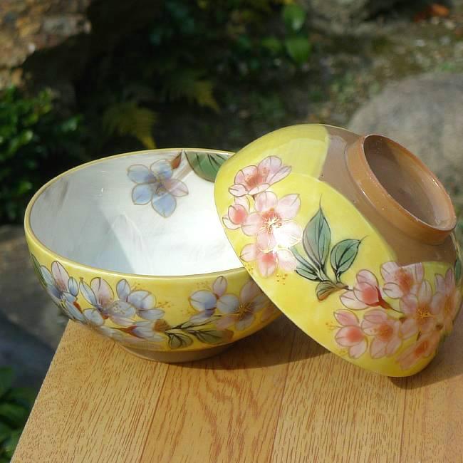 京焼  清水焼 黄塗桜夫婦茶碗 陶あん