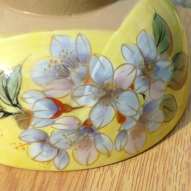 Shimizu ware yellow painted cherry rice bowl porcelain too large