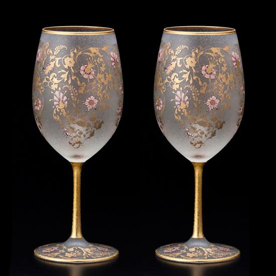 アデリア EL DORADO(エル・ドラード)ARABESQE WINE ペアセットアラベスク ワイングラス 日本製 国産品 桜 おしゃれ 和風 ガラス製 おもてなし パーティー ゲスト用 外国人向け 御祝 内祝い 誕生日祝い ギフト プレゼント SSK16
