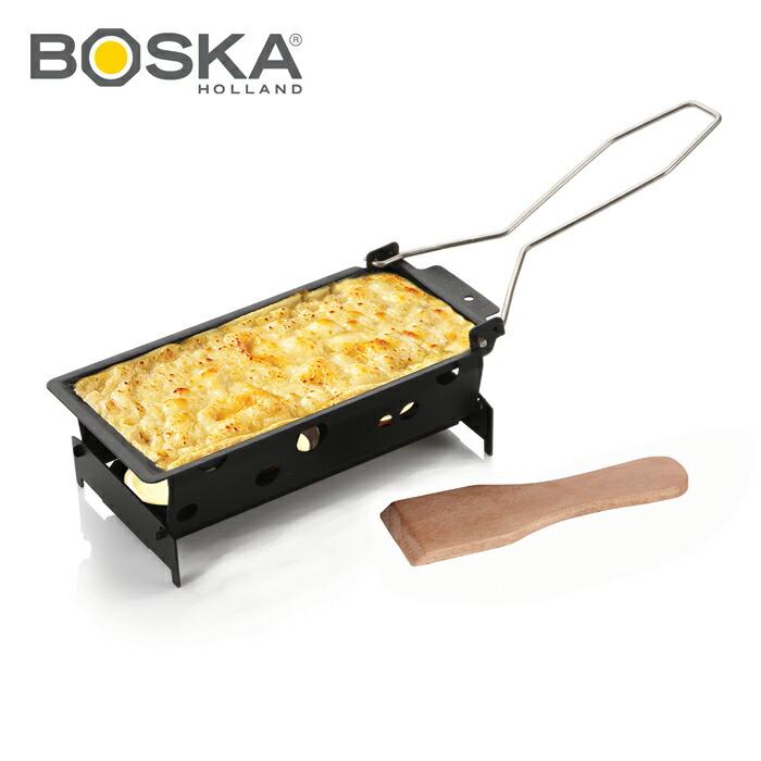 ご家庭でラクレットチーズが作れる調理器具 オーバーのアイテム取扱☆ BOSKA 贈答品 ボスカ ラクレットオーブンセット スチール柄 コンパクトサイズ SSK02 テフロン加工 プレゼント 屋内屋外兼用ギフト
