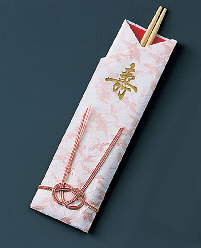 [TKG16-1397] 袋入祝箸5膳 千羽鶴水引付 アスペン祝箸 (1ケース200パック入)