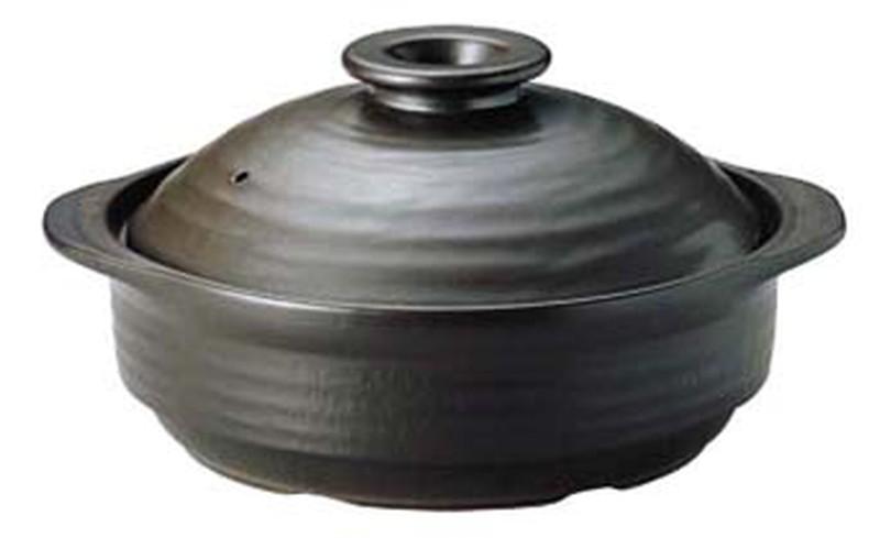 [TKG16-1931] IHサーマテック土鍋 ブラック 10号ME107