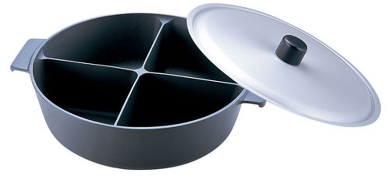 [TKG16-1928] アルミ鍋のなべ 四槽式フッ素加工(蓋付) 36cm