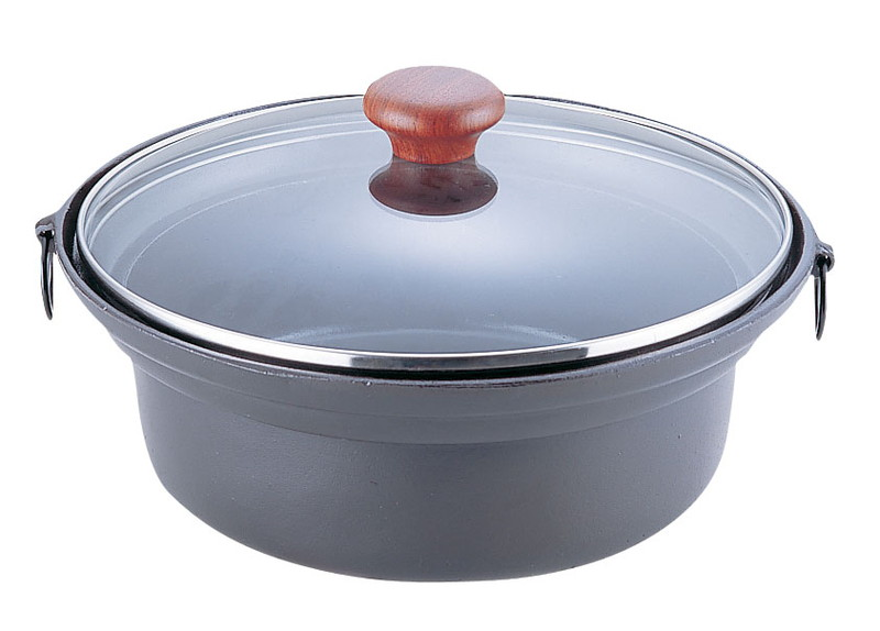 [TKG16-1925] アルミ合金 ガラス蓋しゃぶ鍋