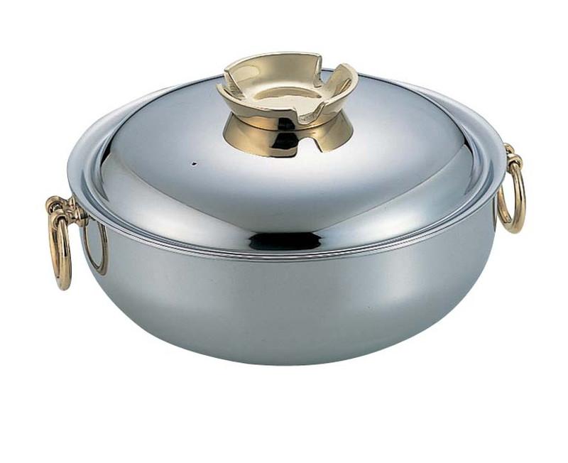 SW電磁用しゃぶしゃぶ鍋 30cm(真鍮ハンドルツマミ) 7-1996-0203 しゃぶしゃぶ鍋 (TKG17-1996)