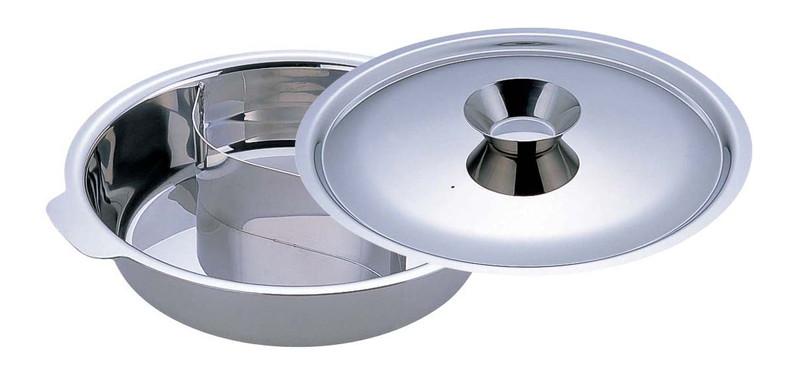 UKチリ鍋 (2仕切・蓋付) 33cm(18-0・電磁対応) 7-1998-0503 チリ鍋 (TKG17-1998)