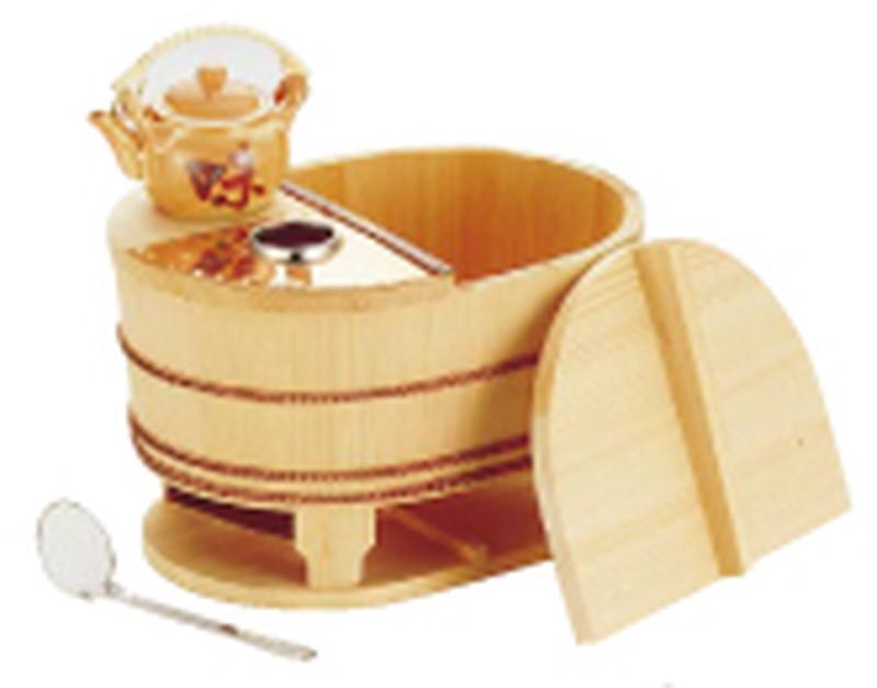サワラ小判型湯ドーフセット(炭用) US-10233人用 7-2022-1402 ゆどうふ鍋 (TKG17-2022)