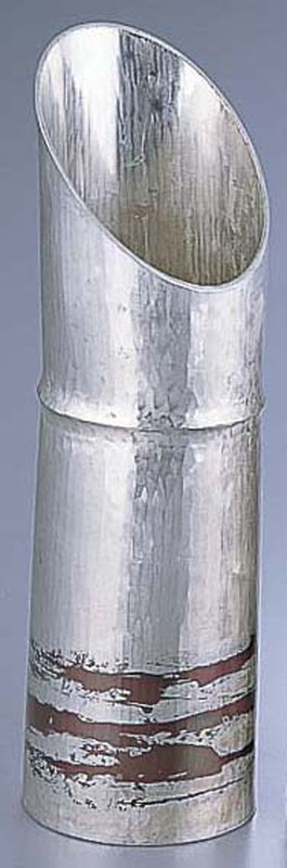 [TKG16-2066] 銅錫被 刷毛目竹形1ツ節酒器 SG003400cc