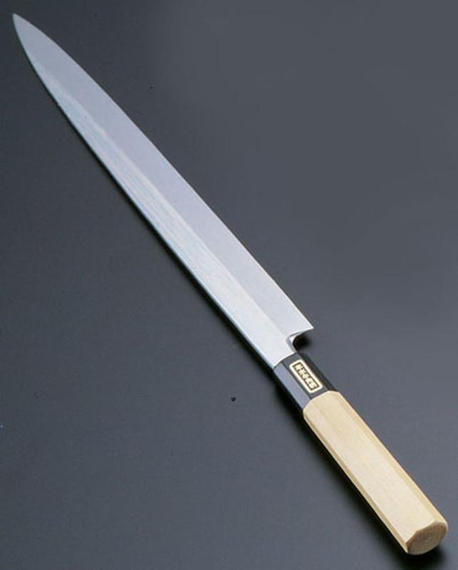 [TKG16-0271] SA佐文 本焼鏡面仕上 柳刃木製サヤ  27cm