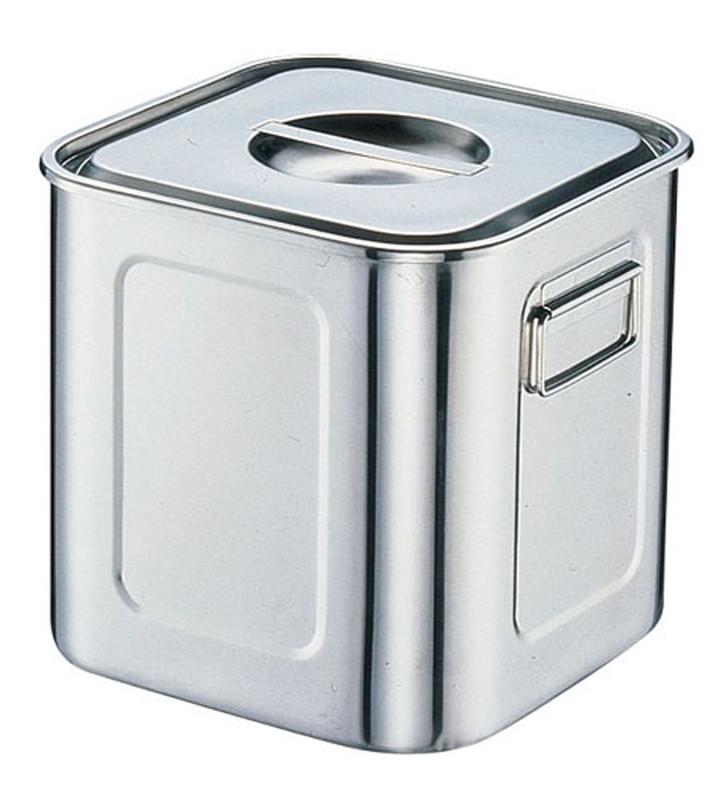 [TKG16-0200] 18-8深型角キッチンポット (手付)28.5cm