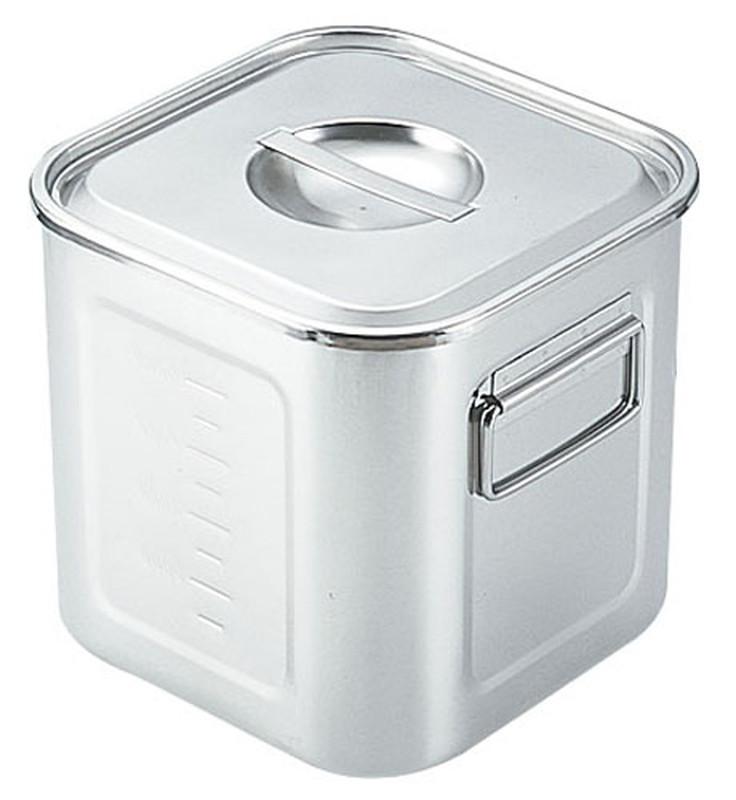 [TKG16-0200] SAモリブデン深型角キッチンポット  目盛付(手付)27cm