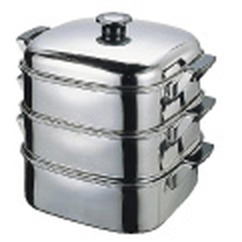 [TKG16-0371] (T)18-8角型蒸器 27cm2段