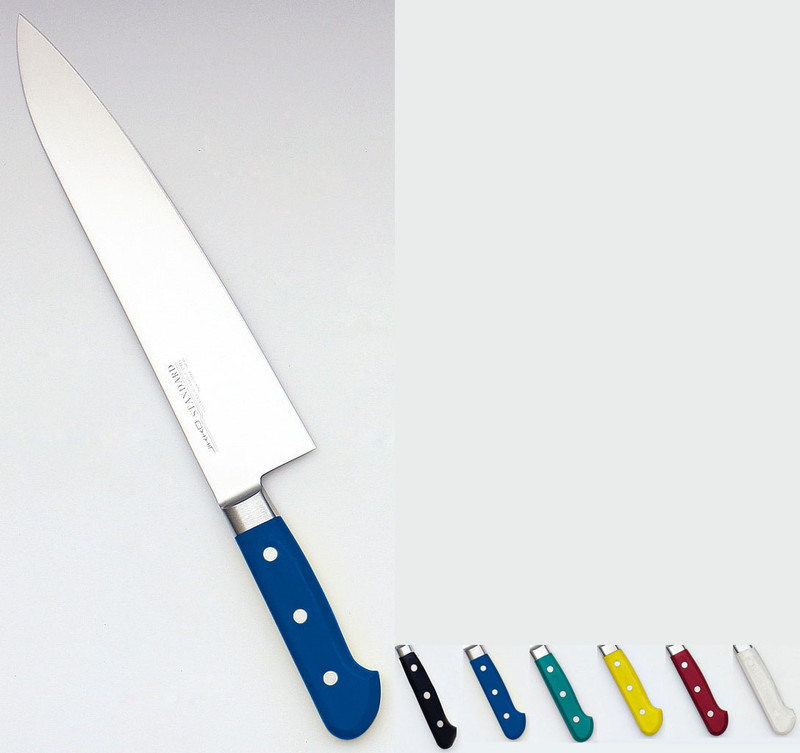 堺實光 STD抗菌PC 牛刀(両刃) 21cm青56005 7-0318-0507 洋庖丁(牛切) (TKG17-0318)