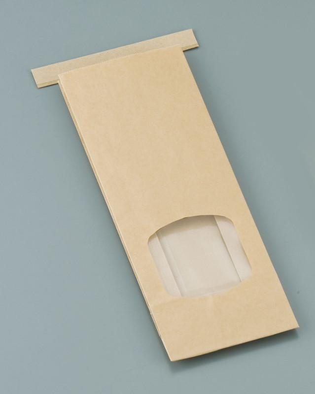 [TKG16-0876] クラフト窓付きティンタイ袋(ワイヤー付)  S(500枚入)