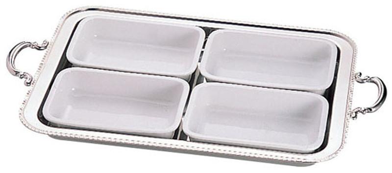 [TKG16-1450] UK18-8ユニット角湯煎用陶器セット 4分割(4枚組) 22インチ用