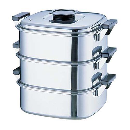 桃印18-0角型蒸器 24cm3段 角蒸器