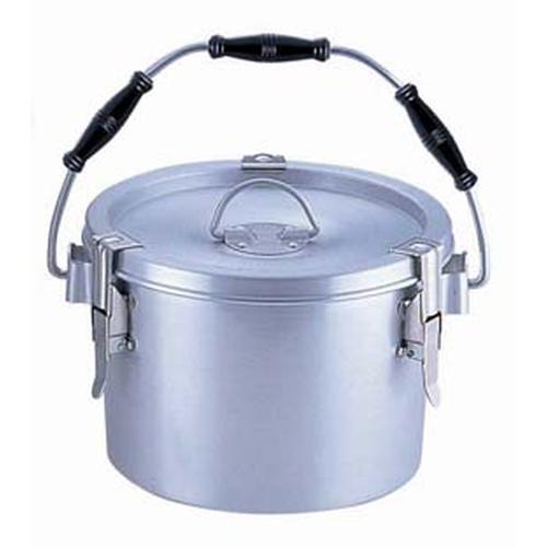 シルバーアルマイト丸型二重クリップ付食缶 238(8l)中蓋付 食缶