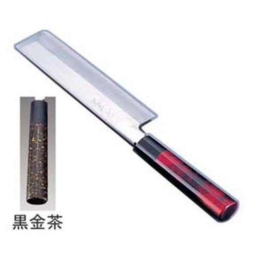 歌舞伎調和庖丁 忠舟 薄刃 21cm黒金茶 和庖丁(菜切)
