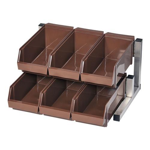 TKG 18-8 スマート オーがナイザー 2段3列(6ヶ入)ブラウン カトラリーボックス