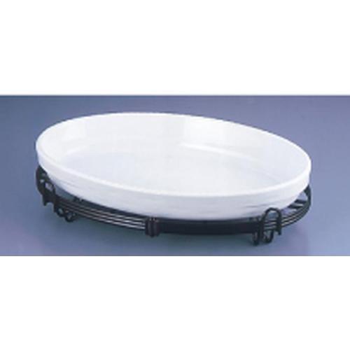 TKG小判バルドスタンドセット 白 40-3011-40W ビュッフェ用大皿(洋食器)