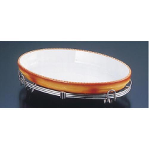 TKG18-8 小判アストラル スタンドセット 茶44-3011-44B ビュッフェ用大皿(洋食器)