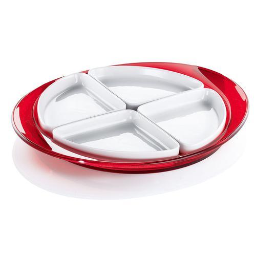guzzini グッチーニ オードブルディッシュ 2291.0065レッド 洋食器