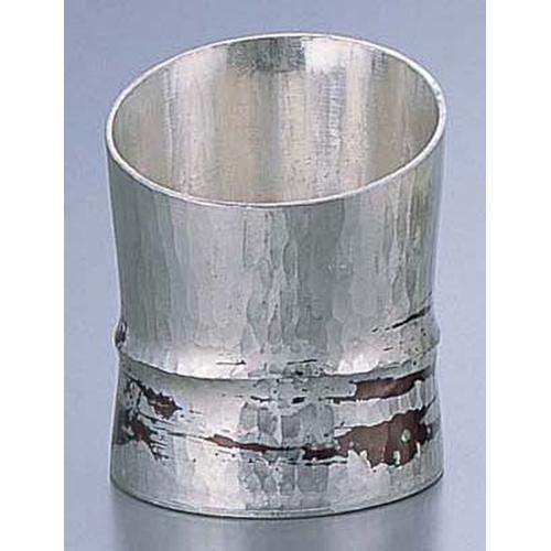 銅錫被 刷毛目竹形1ツ節ぐい呑 斜カットSG00580cc ぐい呑